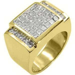 Yellow Gold Mens Princess Cut Invisible Diamond Ring 3 Carats Jewelry