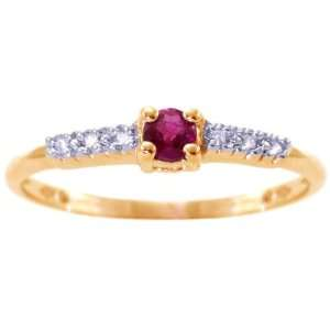 Gold Petite Round Gemstone and Diamond Promise Ring Ruby, size6.5