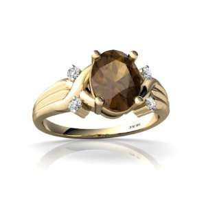 14K Yellow Gold Oval Genuine Smoky Quartz Ring Size 5.5 Jewelry