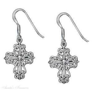Sterling Silver Flat Filigree Christian Religious Cross