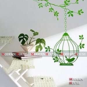 House Green Birdcage removable Vinyl Mural Art Wall Sticker Decal