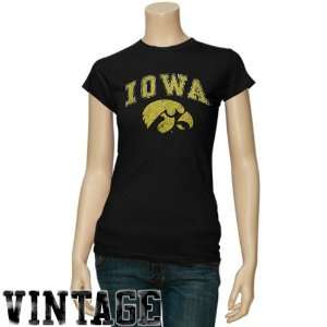 Iowa Hawkeyes Ladies Black Big Arch n Logo Vintage T