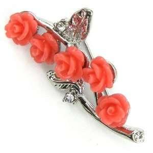 45mm rhinestone coral carved rose flower pin brooch pink