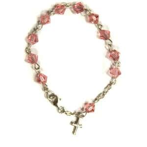 Light Rose Swarovski Crystal Child Rosary Bracelet Jewelry