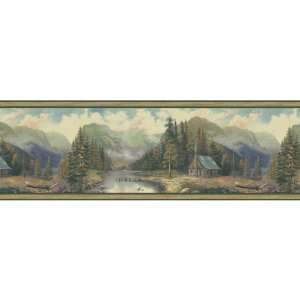 By Color BC1580405 Green Forest Lodge Scenic Border