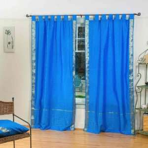 Indo Blue Tab Top Sari Sheer Curtain (43 in. x 84 in.): Home & Kitchen