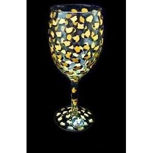 Gold Leopard Design   Wine Glass   8 oz