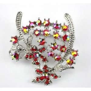 Red Swarovski Crystal Floral Brooch Pin