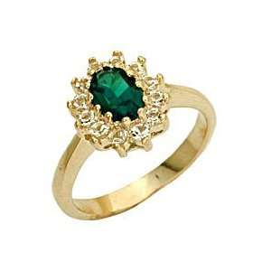 Rosette Emerald Swarovski Crystal Gold Tone Ring, Size 5 10 Jewelry