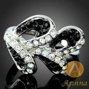 White Gold Gp Black Bud Swarovski Crystal Ring (Sz 8)