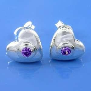 2.68 Grams 925 Sterling Silver Heart Symbol Cz Violet