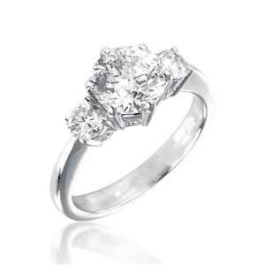 Round Brilliant 3 Stone Diamond Ring in 18ct White Gold, Ring Size 7.5