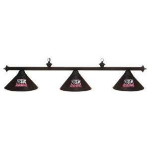 Alabama Crimson Tide Black Finish 3 Shade Pool Table Light, 58L x 9D