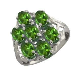 2.80 Ct Oval Green Tourmaline Sterling Silver Ring Jewelry