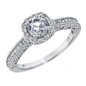 14K White Gold Natural Round Brilliant Cut Diamond Engagement Ring