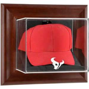 Houston Texans Brown Framed Wall Mounted Logo Cap Case