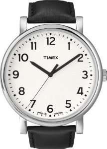 Timex Easy Reader White Dial Black Leather Mens Watch T2N338 Timex