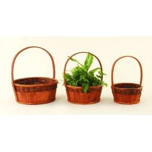 SET of 3 Round Nested Wood Rattan Baskets with Handle: