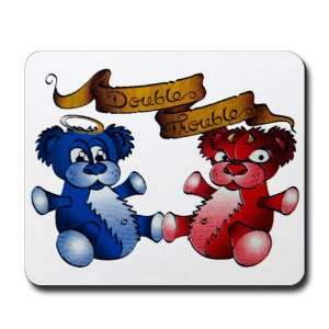 (Mouse Pad) Double Trouble Bears Angel and Devil Everything Else