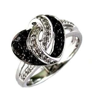 14K White Gold Diamond and Black Diamond Heart Ring Grande Jewelry