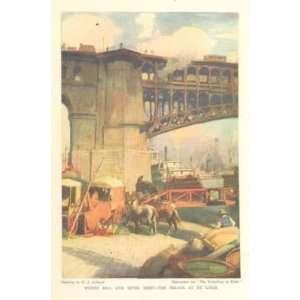 1915 Color Print Mississippi River Bridge At St Louis Everything Else