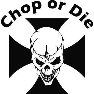 Maltese Cross Skull  Chop or Die Vinyl Decal Sticker 6