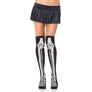 Leg Avenue Skeleton Bone Thigh High Socks Gothic Punk 80s Deathrock