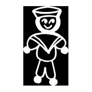 Navy male sailor dad son Stick Figure Family stick em up White vinyl