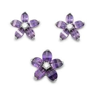 Sterling Silver & Amethyst CZ Prairie Rose Flower Earring & Necklace