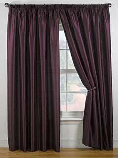 Linea Faux silk plum curtain range   House of Fraser