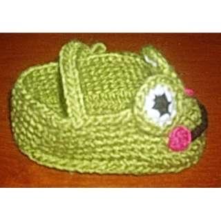 Cartoon shoes frog Handmade Wool knit Children H1560