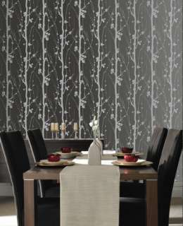 17281 Superfresco Texture Solitude Black Trail,Floral Wallpaper