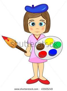 Cute Little Girl Artist Stock Photo 45505249  Shutterstock