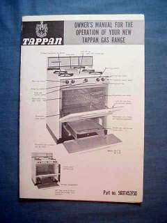 Tappan Gas Range Stove Owners Manual Model 30 1119 36 1119