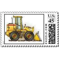 Rubber Tire Loader Construction Equipment Postage Stamp by art1st