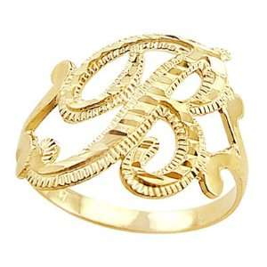 Letter Ring B Initial Band 14k Yellow Gold Cursive Alphabet, Size 8.5