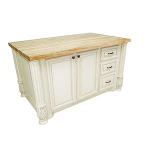 Antique White Kitchen Island With Butcher Block Top : KITCHEN ISLAND WOOD BUTCHER BLOCK ANTIQUE WHITE OR DISTRESSED BLACK
