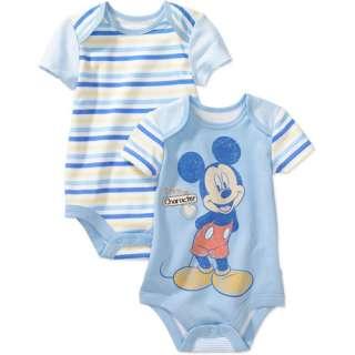 Disney   Newborn Boys Mickey Mouse Creepers, 2 Pack