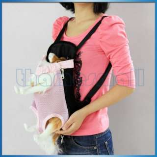 Front Style Pink Pet Dog Carrier Backpack w/ Legs Out Design Size S