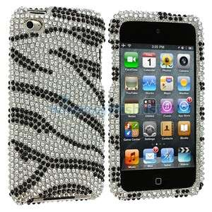 Black Silver Zebra Bling Rhinestone Case Cover for iPod Touch 4th Gen