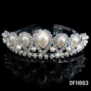 Wedding Bridal crystal PEARL tiara crown Headband 0863