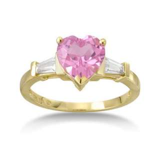Sapphire Ring, Yellow Gold Pink Sapphire Ring, Pink and White Sapphire