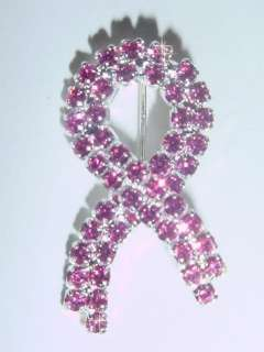 PINK BREAST CANCER RIBBON PIN with SWAROVSKI CRYSTALS MIB SLVR