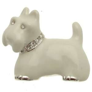 Acosta Brooches   White Enamel Scottie Dog Brooch with