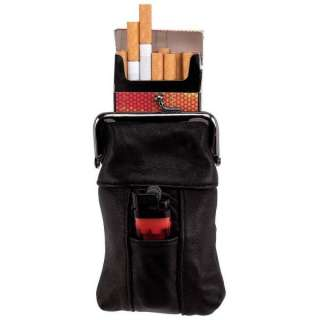 NEW Genuine BLACK LEATHER CIGARETTE LIGHTER CASE HOLDER