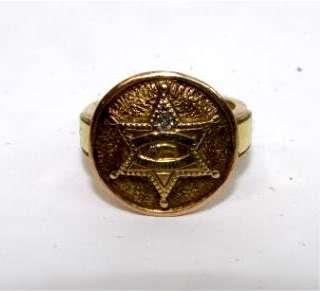 VINTAGE 1945 LOS ANGELES COUNTY SHERIFF DEPUTY 14k GOLD SERVICE RING w