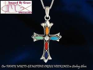 Sterling Silver Turquoise, Lapis, Coral Cross Pendant w/Flared Ends