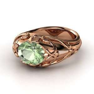Hearts Crown Ring, Oval Green Amethyst 14K Rose Gold Ring Jewelry