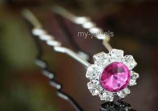 pcsX Bridal Pink Clear Flower Crystal Hair Pins P1084