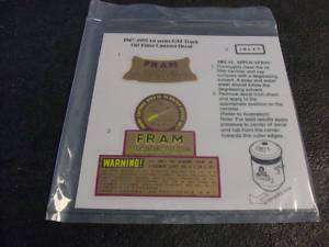 VINTAGE FRAM OIL FILTER HOUSING DECAL CHEVY GM 40S 50